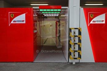 World © Octane Photographic Ltd. Saturday 20th September 2014, Singapore Grand Prix, Marina Bay. Formula 1 Paddock. Scuderia Ferrari garage entrance. Digital Ref: 1122CB1D8197