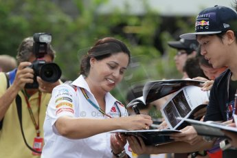 World © Octane Photographic Ltd. Saturday 20th September 2014, Singapore Grand Prix, Marina Bay. - Formula 1 Paddock. Sauber F1 team – Monisha Kaltenborn. Digital Ref: 1122CB1D8431
