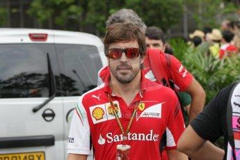 World © Octane Photographic Ltd. Saturday 20th September 2014, Singapore Grand Prix, Marina Bay. - Formula 1 Paddock. Scuderia Ferrari F14T - Fernando Alonso. Digital Ref: 1122CB1D8502
