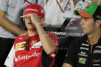 World © Octane Photographic Ltd. Thursday 18th September 2014, Singapore Grand Prix, Marina Bay. - Formula 1 Driver's conference. Scuderia Ferrari F14T – Kimi Raikkonen. Digital Ref: 1117CB1D6852