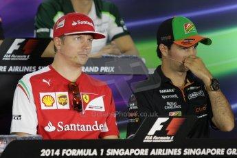 World © Octane Photographic Ltd. Thursday 18th September 2014, Singapore Grand Prix, Marina Bay. - Formula 1 Driver's conference. Scuderia Ferrari F14T – Kimi Raikkonen. Digital Ref: 1117CB1D6945