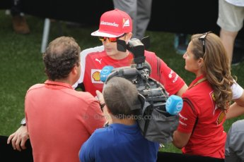 World © Octane Photographic Ltd. Thursday 18th September 2014, Singapore Grand Prix, Marina Bay. - Post Formula 1 Driver's conference enclosure. Scuderia Ferrari F14T – Kimi Raikkonen. Digital Ref: 1117CB1D6952
