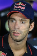 World © Octane Photographic Ltd. Thursday 18th September 2014, Singapore Grand Prix, Marina Bay. - Formula 1 Driver's conference. Scuderia Toro Rosso STR9 - Jean-Eric Vergne. Digital Ref: 1117LB1D8862