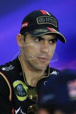 World © Octane Photographic Ltd. Thursday 18th September 2014, Singapore Grand Prix, Marina Bay. - Formula 1 Driver's conference. Lotus F1 Team E22 – Pastor Maldonado. Digital Ref: 1117LB1D9002