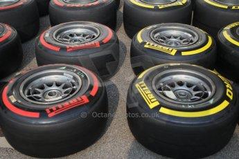 World © Octane Photographic Ltd. Wednesday 17th September 2014, Singapore Grand Prix, Marina Bay. Formula 1 Setup and atmosphere. Williams Martini Racing wheels with Pirelli tyre options. Digital Ref: 1115CB1D6405
