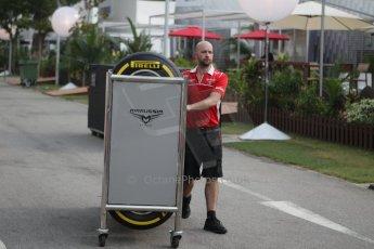 World © Octane Photographic Ltd. Wednesday 17th September 2014, Singapore Grand Prix, Marina Bay. Formula 1 Setup and atmosphere. Marussia F1 Team Pirelli tyres. Digital Ref: 1115CB1D6412