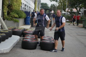 World © Octane Photographic Ltd. Wednesday 17th September 2014, Singapore Grand Prix, Marina Bay. Formula 1 Setup and atmosphere. Williams Martini Racing wheels with Pirelli tyre options. Digital Ref: 1115CB1D6417