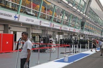 World © Octane Photographic Ltd. Wednesday 17th September 2014, Singapore Grand Prix, Marina Bay. Formula 1 Setup and atmosphere. Ptlane under construction. Digital Ref: 1115CB1D6437