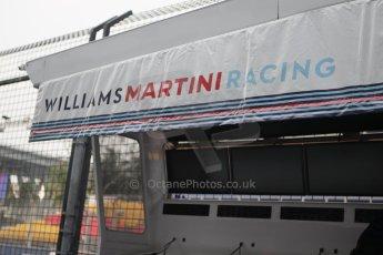 World © Octane Photographic Ltd. Wednesday 17th September 2014, Singapore Grand Prix, Marina Bay. Formula 1 Setup and atmosphere. Williams Martini Racing pit wall. Digital Ref: 1115CB1D6476