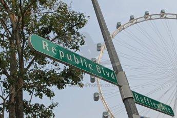 World © Octane Photographic Ltd. Wednesday 17th September 2014, Singapore Grand Prix, Marina Bay. Formula 1 Setup and atmosphere. The Singapore Flyer and signs to Raffles Avenue and Republic Boulevard. Digital Ref: 1115CB1D6519