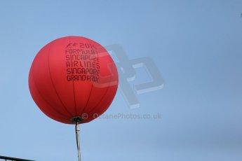 World © Octane Photographic Ltd. Wednesday 17th September 2014, Singapore Grand Prix, Marina Bay. Formula 1 Setup and atmosphere. Red F1 Balloon. Digital Ref: 1115LB1D8749