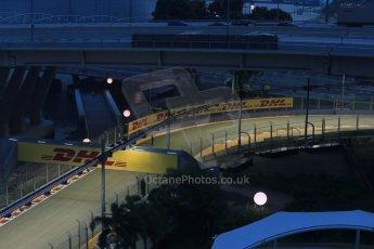 World © Octane Photographic Ltd. Wednesday 17th September 2014, Singapore Grand Prix, Marina Bay. Formula 1 Setup and atmosphere. Final corner (turn 23) under lights. Digital Ref: 1115LB1D8854