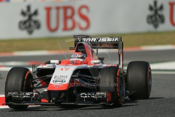 World © Octane Photographic Ltd. Friday 9th May 2014. Circuit de Catalunya - Spain - Formula 1 Practice 1 pitlane. Marussia F1 Team MR03 - Jules Bianchi. Digital Ref: