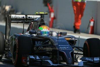 World © Octane Photographic Ltd. Friday 9th May 2014. Circuit de Catalunya - Spain - Formula 1 Practice 2 pitlane. Sauber C33 - Esteban Gutierrez. Digital Ref: