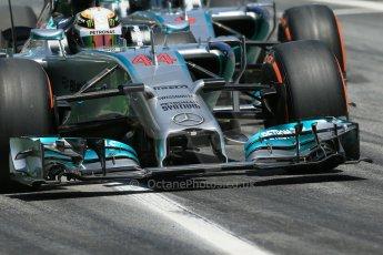 World © Octane Photographic Ltd. Friday 9th May 2014. Circuit de Catalunya - Spain - Formula 1 Practice 2 pitlane. Mercedes AMG Petronas F1 W05 Hybrid - Lewis Hamilton and Nico Rosberg. Digital Ref: