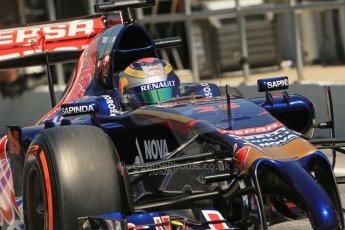 World © Octane Photographic Ltd. Friday 9th May 2014. Circuit de Catalunya - Spain - Formula 1 Practice 2 pitlane. Scuderia Toro Rosso STR9 - Jean-Eric Vergne. Digital Ref: