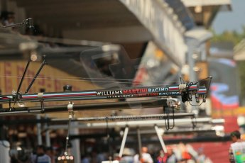 World © Octane Photographic Ltd. Friday 9th May 2014. Circuit de Catalunya - Spain - Formula 1 Practice 2 pitlane. Williams Martini Racing. Digital Ref: