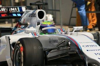 World © Octane Photographic Ltd. Friday 9th May 2014. Circuit de Catalunya - Spain - Formula 1 Practice 2 pitlane. Williams Martini Racing FW36 – Felipe Massa. Digital Ref: