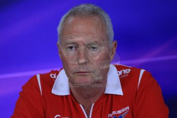 World © Octane Photographic Ltd. Friday 9th May 2014. Circuit de Catalunya – Barcelona, Spain. Formula 1 press conference. John Booth – Marussia. Digital Ref :