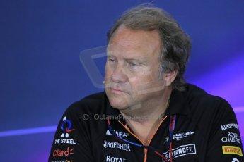 World © Octane Photographic Ltd. Friday 9th May 2014. Circuit de Catalunya – Barcelona, Spain. Formula 1 press conference. Robert Fernley - Force India. Digital Ref :