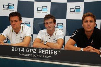 World © Octane Photographic Ltd. Friday 9th May 2014. GP2 Qualifying Press Conference – Circuit de Catalunya, Barcelona, Spain. Stephane Richelmi (1st), Jolyon Palmer (2nd) - DAMS and Stefano Coletti (3rd) - Racing Engineering – Digital Ref :