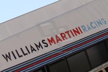World © Octane Photographic Ltd. Friday 9th May 2014. Circuit de Catalunya - Spain - Formula 1 Practice 1 pitlane. Williams Martini Racing logo. Digital Ref: