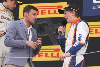 World © Octane Photographic Ltd. Saturday 10th May 2014. GP2 Race 1 Podium – Circuit de Catalunya, Barcelona, Spain. Johnny Cecotto - Trident (1st) being interviewed by Will Buxton. Digital Ref :