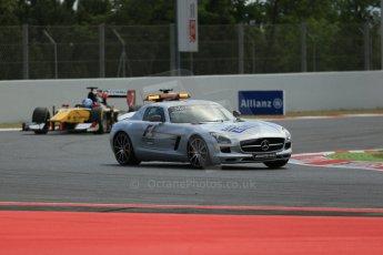 World © Octane Photographic Ltd. Saturday 10th May 2014. GP2 Race 1 – Circuit de Catalunya, Barcelona, Spain. Mercedes SLS AMG Safety car leads Jolyon Palmer - DAMS – Digital Ref :