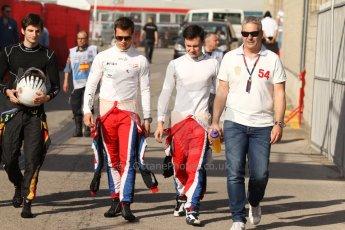 World © Octane Photographic Ltd. Saturday 10th May 2014. GP3 Qualifying – Circuit de Catalunya, Barcelona, Spain. Alex Fontana - ART Grand Prix and Robert Visoiu and Patric Niederhauser of Arden International. Digital Ref :