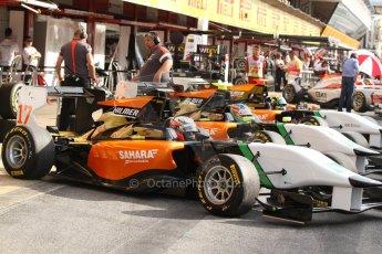 World © Octane Photographic Ltd. Saturday 10th May 2014. GP3 Qualifying – Circuit de Catalunya, Barcelona, Spain. Ivan Taranov, Nelson Mason and Beistke Visser - Hilmer Motorsport. Digital Ref :