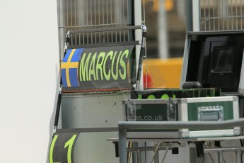 World © Octane Photographic Ltd. Saturday 10th May 2014. Circuit de Catalunya - Spain - Formula 1 Qualifying. Caterham F1 Team CT05 – Marcus Ericsson pit board. Digital Ref: 0936lb1d8046