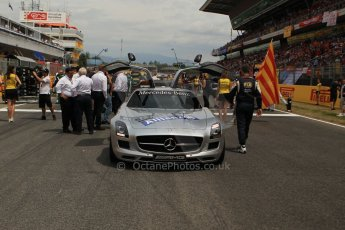 World © Octane Photographic Ltd. Sunday 11th May 2014. Circuit de Catalunya - Spain - Formula 1 Grid. Mercedes SLS AMG Safety car at the front of the F1 grid. Digital Ref: