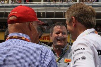 World © Octane Photographic Ltd. Sunday 11th May 2014. Circuit de Catalunya - Spain - Formula 1 Grid. Pirelli Paul Hembery and Niki Lauda. Digital Ref: