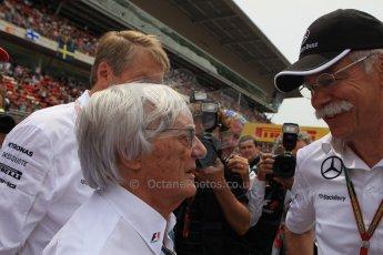 World © Octane Photographic Ltd. Sunday 11th May 2014. Circuit de Catalunya - Spain - Formula 1 Grid. Bernie Ecclestone and Daimler AG CEO Dieter Zetsche. Digital Ref: