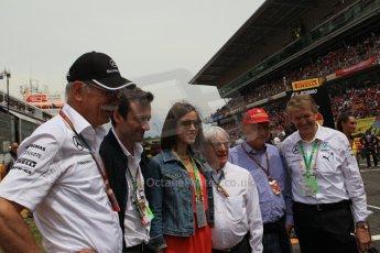 World © Octane Photographic Ltd. Sunday 11th May 2014. Circuit de Catalunya - Spain - Formula 1 Grid. Bernie Ecclestone, Niki Lauda and Daimler AG CEO Dieter Zetsche. Digital Ref: