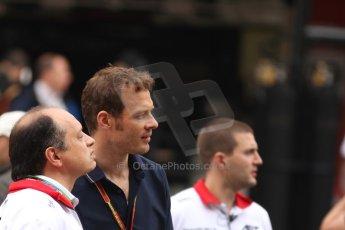 World © Octane Photographic Ltd. Sunday 11th May 2014. Circuit de Catalunya, Barcelona, Spain. F1/GP2/GP3 Grid - Alaxander Wurz and Frederic Vasseur (ART Grand Prix). Digital Ref :
