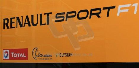 World © Octane Photographic Ltd. Sunday 11th May 2014. Circuit de Catalunya, Barcelona, Spain. Renault Sport F1 logo. Digital Ref :