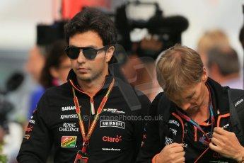 World © Octane Photographic Ltd. Sunday 11th May 2014. Circuit de Catalunya - Spain - Formula 1 Paddock. Sahara Force India VJM07 – Sergio Perez. Digital Ref: