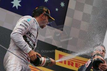 World © Octane Photographic Ltd. Thursday 8th May 2014. Circuit de Catalunya - Spain - Formula 1 Podium. Mercedes AMG Petronas F1 W05 Hybrid – Lewis Hamilton (1st) and Infiniti Red Bull Racing RB10 – Daniel Ricciardo (3rd). Digital Ref: