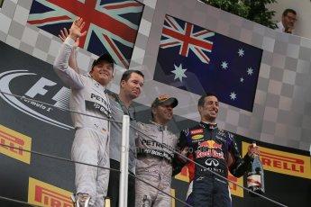 World © Octane Photographic Ltd. Thursday 8th May 2014. Circuit de Catalunya - Spain - Formula 1 Podium. Mercedes AMG Petronas F1 W05 Hybrid – Lewis Hamilton (1st) and Nico Rosberg (2nd)  and Infiniti Red Bull Racing RB10 – Daniel Ricciardo (3rd). Digital Ref: