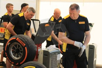 World © Octane Photographic Ltd. Thursday 8th May 2014. GP3 Paddock – Circuit de Catalunya, Barcelona, Spain. Pirelli tyre fitting. Digital Ref : 0923cb1d2843