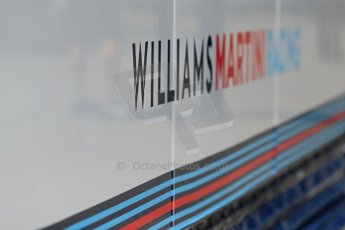 World © Octane Photographic Ltd. Thursday 8th May 2014. Circuit de Catalunya - Spain - Formula 1 Paddock. Williams Martini Racing logo. Digital Ref: 0922lb1d2840