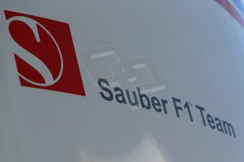World © Octane Photographic Ltd. Thursday 8th May 2014. Circuit de Catalunya - Spain - Formula 1 Paddock. Sauber F1 Team logo. Digital Ref: 0922lb1d2857