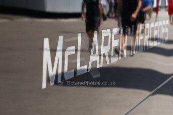 World © Octane Photographic Ltd. Thursday 8th May 2014. Circuit de Catalunya - Spain - Formula 1 Paddock. Vodafone McLaren Mercedes MP4/29. McLaren Logo. Digital Ref: 0922lw7d8594
