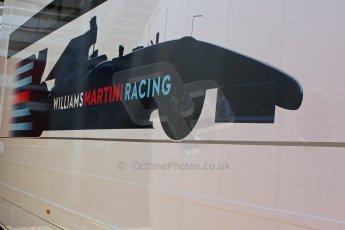 World © Octane Photographic Ltd. Thursday 8th May 2014. Circuit de Catalunya - Spain - Formula 1 Paddock. Williams Martini Racing logo. Digital Ref: 0922lw7d8607