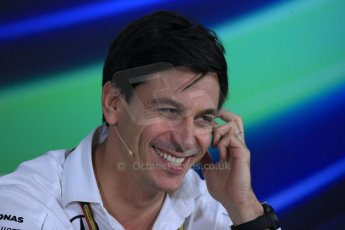 World © Octane Photographic Ltd. Friday 31st October 2014, F1 USA GP, Austin, Texas, Circuit of the Americas (COTA) - FIA Press Conference. Mercedes AMG Petronas Executive Director  – Toto Wolff. Digital Ref: 1146LB1D9194