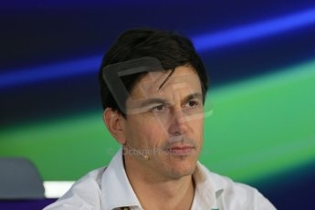 World © Octane Photographic Ltd. Friday 31st October 2014, F1 USA GP, Austin, Texas, Circuit of the Americas (COTA) - FIA Press Conference. Mercedes AMG Petronas Executive Director  – Toto Wolff. Digital Ref: 1146LB1D9223