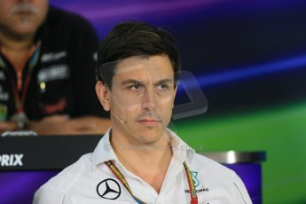 World © Octane Photographic Ltd. Friday 31st October 2014, F1 USA GP, Austin, Texas, Circuit of the Americas (COTA) - FIA Press Conference. Mercedes AMG Petronas Executive Director  – Toto Wolff. Digital Ref: 1146LB1D9281