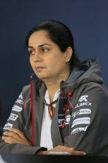 World © Octane Photographic Ltd. Friday 31st October 2014, F1 USA GP, Austin, Texas, Circuit of the Americas (COTA) - FIA Press Conference. Sauber F1 Team Team Principle – Monisha Kaltenborn. Digital Ref: 1146LB1D9310