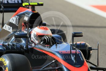 World © Octane Photographic Ltd. McLaren Honda MP4/30 - Jenson Button. Friday 27th November 2015, F1 Abu Dhabi Grand Prix, Practice 1, Yas Marina. Digital Ref: 1477CB1L5052
